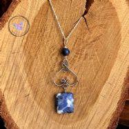 Sodalite Silver Healing Pendant Necklace